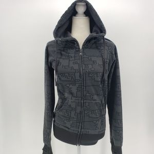 Billabong gray & black logo zipper hoodie Large
